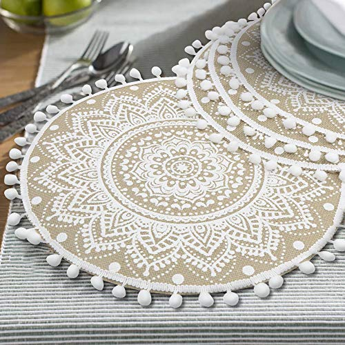 Lahome Mandala Flower Round Placemat Farmhouse Jute Table Mats With Pompom Tassel 15 Inch Place Mat For Dining Room Kitchen Table Decor White 4 0