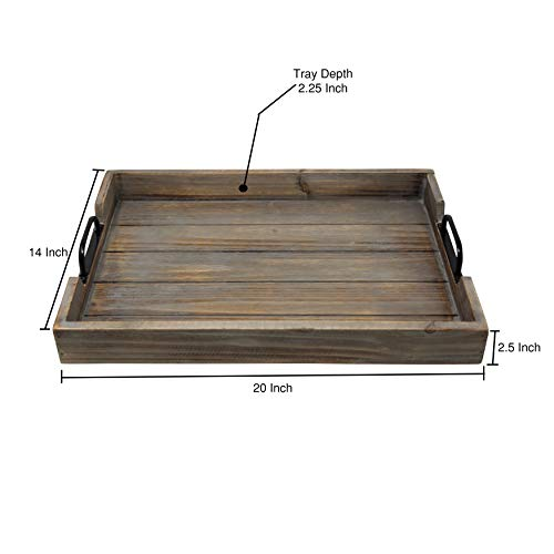 Large 14x20 Decorative Nested Vintage Wood Serving Tray For Coffee Table Or Ottoman Rustic Wooden Breakfast Trays For Kitchen Dining Room Or Living Room Farmhouse Platter WHandles Barnwood 0 0