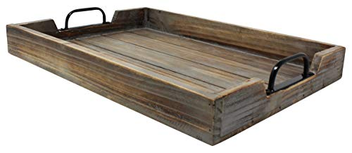 Large 14x20 Decorative Nested Vintage Wood Serving Tray For Coffee Table Or Ottoman Rustic Wooden Breakfast Trays For Kitchen Dining Room Or Living Room Farmhouse Platter WHandles Barnwood 0