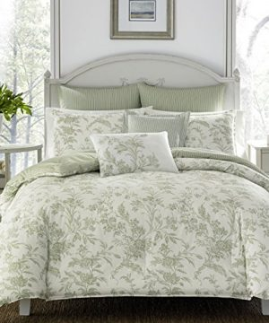 Laura Ashley Home Natalie Collection Luxury Ultra Soft Comforter All Season Premium 7 Piece Bedding Set Stylish Delicate Design For Home Decor King Sage 0 300x360