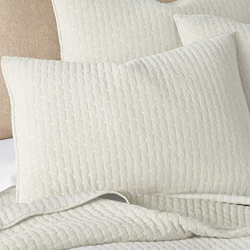 Levtex Home Cross Stitch Quilt Set 100 Cotton Twin 68x86in 1 Standard Shams 26x20in Cream Farmhouse Goals
