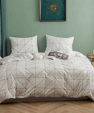 Lianai Black And White Grid Cotton Duvet Cover Set Twin Size 2 Piece Farmhouse Bedding Sets 1 Duvet Cover 1 Pillow Shames 0 300x360