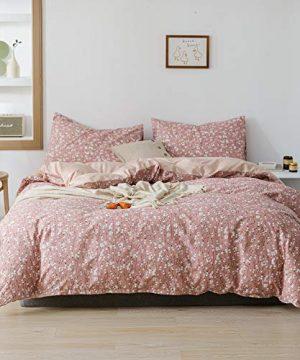 Lianai Floral Printed Cotton Farmhouse Bedding Set Twin Size Flower Pink Duvet Covet Sets 2 Pcs 1 Duvet Cover 1 Pillowcases 0 300x360