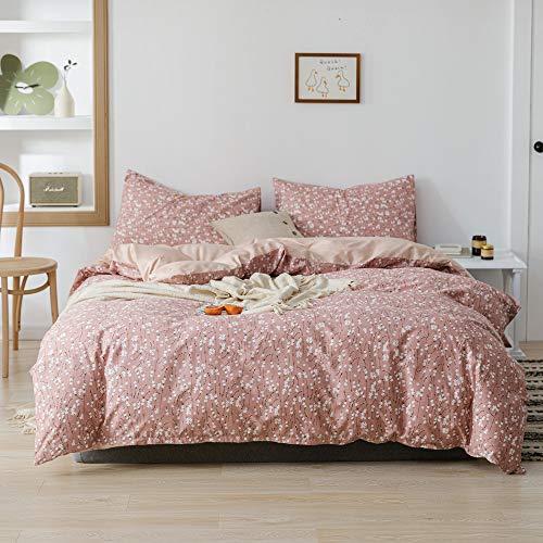 Lianai Floral Printed Cotton Farmhouse Bedding Set Twin Size Flower Pink Duvet Covet Sets 2 Pcs 1 Duvet Cover 1 Pillowcases 0