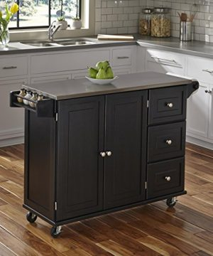 Liberty Black Kitchen Cart With Stainless Steel Top By Home Styles 0 300x360