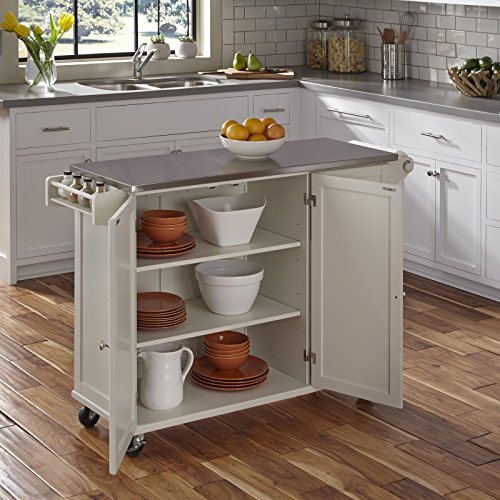 Liberty Off White Kitchen Cart With Stainless Steel Top By Home Styles 0 0