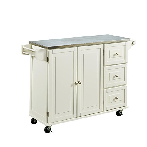 Liberty Off White Kitchen Cart With Stainless Steel Top By Home Styles 0 1