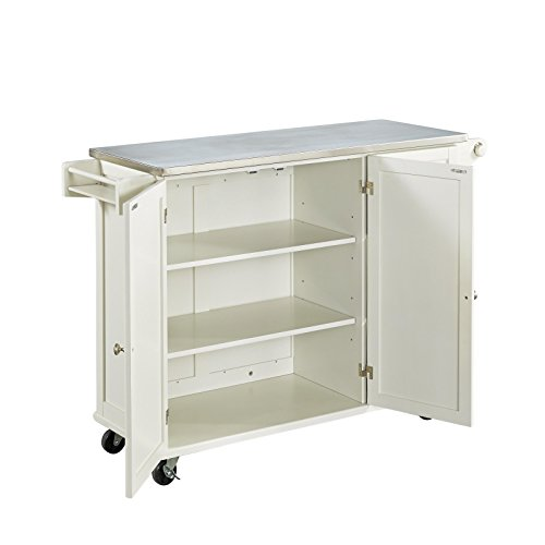 Liberty Off White Kitchen Cart With Stainless Steel Top By Home Styles 0 2