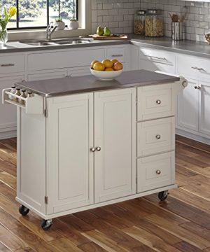 Liberty Off White Kitchen Cart With Stainless Steel Top By Home Styles 0 300x360