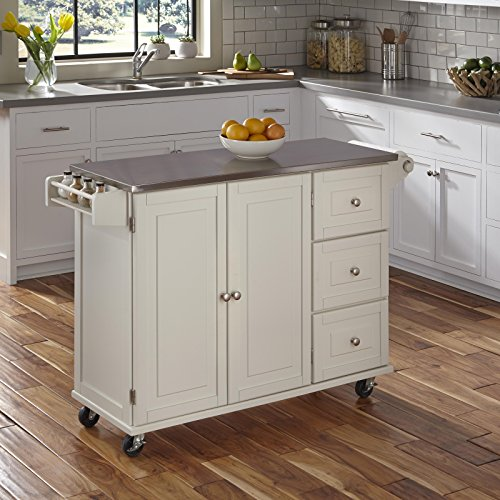 Liberty Off White Kitchen Cart With Stainless Steel Top By Home Styles 0