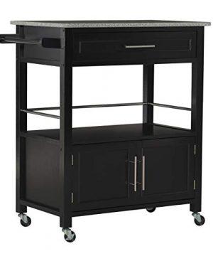 Linon Cameron Granite Top Kitchen Cart 3602 X 2402 X 1799 Black 0 300x360