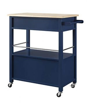 Linon Home Decor Products Marlow Kitchen Cart Denim With Wood Top 0 0 300x360