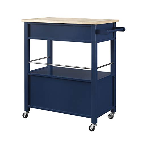 Linon Home Decor Products Marlow Kitchen Cart Denim With Wood Top 0 0