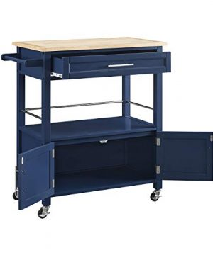 Linon Home Decor Products Marlow Kitchen Cart Denim With Wood Top 0 1 300x360