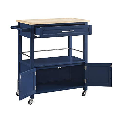 Linon Home Decor Products Marlow Kitchen Cart Denim With Wood Top 0 1