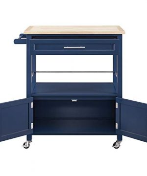 Linon Home Decor Products Marlow Kitchen Cart Denim With Wood Top 0 2 300x360