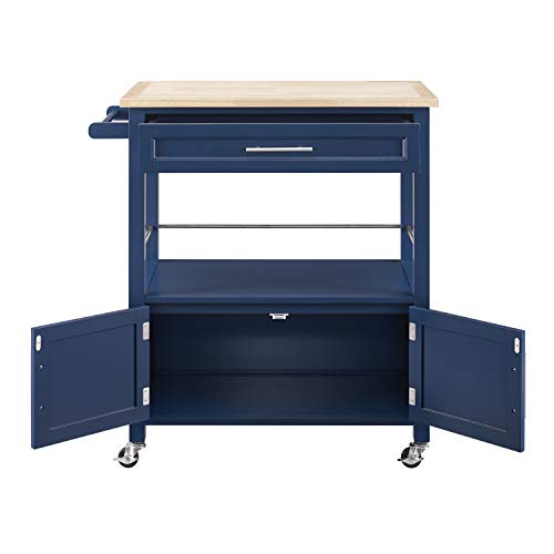 Linon Home Decor Products Marlow Kitchen Cart Denim With Wood Top 0 2