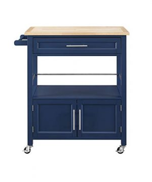 Linon Home Decor Products Marlow Kitchen Cart Denim With Wood Top 0 3 300x360