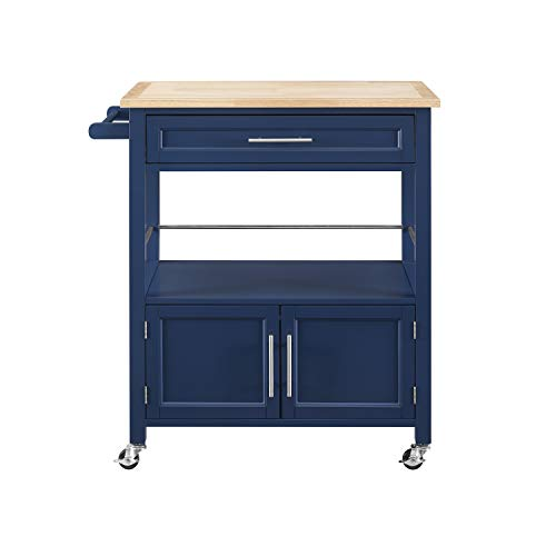 Linon Home Decor Products Marlow Kitchen Cart Denim With Wood Top 0 3