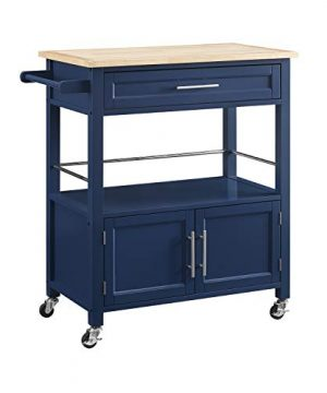 Linon Home Decor Products Marlow Kitchen Cart Denim With Wood Top 0 300x360