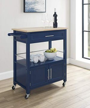Linon Home Decor Products Marlow Kitchen Cart Denim With Wood Top 0 5 300x360