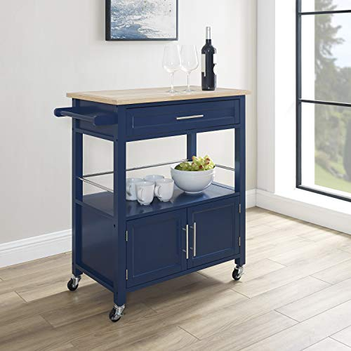 Linon Home Decor Products Marlow Kitchen Cart Denim With Wood Top 0 5