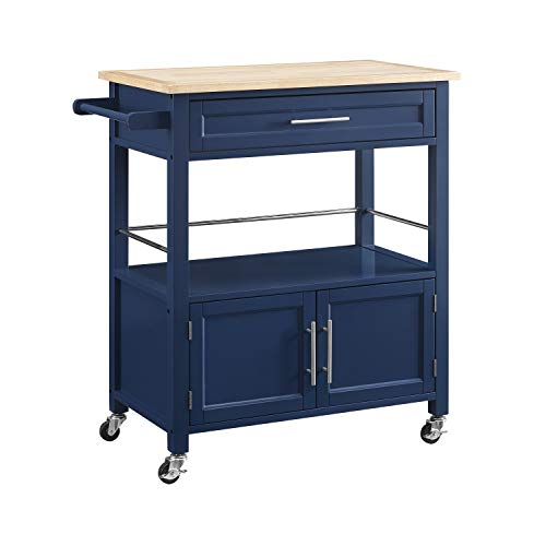 Linon Home Decor Products Marlow Kitchen Cart Denim With Wood Top 0