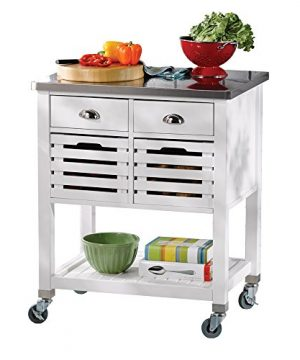 Linon Hudson White Kitchen Cart 0 300x360