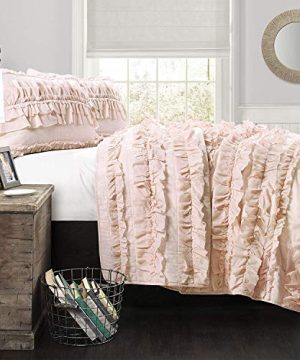 Lush Decor Belle 2 Piece Ruffled Quilt Bedding Set Twin Pink Blush 0 300x360