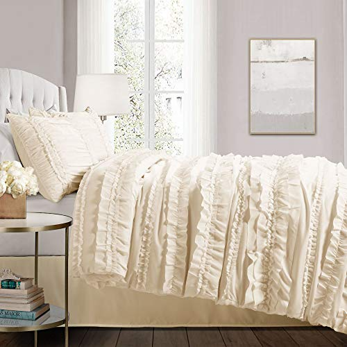 Lush Decor Belle 4 Piece Ruffled Comforter Set With Bed Skirt And 2 Pillow Shams King Ivory 0 0