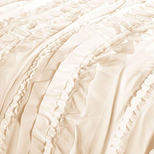 Lush Decor Belle 4 Piece Ruffled Comforter Set With Bed Skirt And 2 Pillow Shams King Ivory 0 1