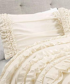 Lush Decor Belle 4 Piece Ruffled Comforter Set With Bed Skirt And 2 Pillow Shams King Ivory 0 2 300x360