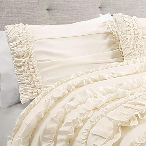 Lush Decor Belle 4 Piece Ruffled Comforter Set With Bed Skirt And 2 Pillow Shams King Ivory 0 2