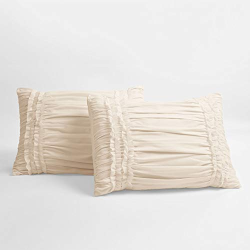Lush Decor Belle 4 Piece Ruffled Comforter Set With Bed Skirt And 2 Pillow Shams King Ivory 0 3
