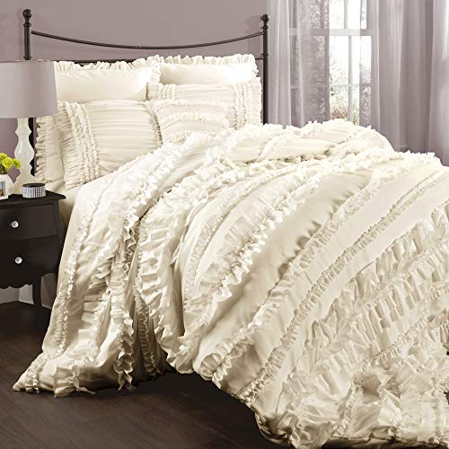 Lush Decor Belle 4 Piece Ruffled Comforter Set With Bed Skirt And 2 Pillow Shams King Ivory 0