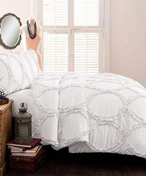 Lush Decor Comforter Ruffled 3 Piece Set With Pillow Shams Full Queen White 0 0 300x360