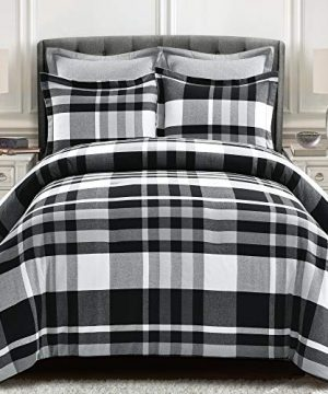Lush Decor Farmhouse Eco Friendly Recycled Yarn Dyed Cotton Plaid 5 Piece Comforter Set FullQueen Gray And White 0 300x360