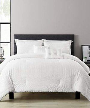 Lush Decor Farmhouse Seersucker 5 Piece FullQueen Comforter Set White 0 300x360