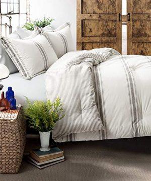 Lush Decor Gray Comforter Farmhouse Stripe 3 Piece Reversible Bedding Set King 0 300x360