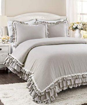 Lush Decor Light Gray Ella Shabby Chic Ruffle Lace 3 Piece Comforter Set FullQueen 0 0 300x360