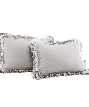 Lush Decor Light Gray Ella Shabby Chic Ruffle Lace 3 Piece Comforter Set FullQueen 0 1 300x360