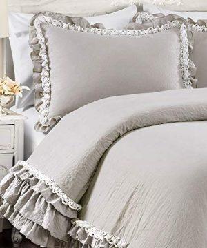 Lush Decor Light Gray Ella Shabby Chic Ruffle Lace 3 Piece Comforter Set FullQueen 0 2 300x360
