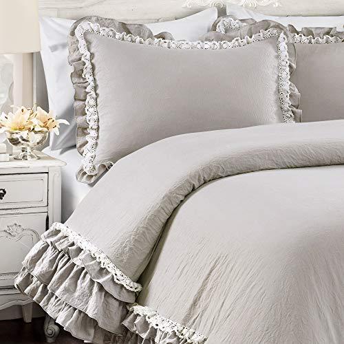 Lush Decor Light Gray Ella Shabby Chic Ruffle Lace 3 Piece Comforter Set FullQueen 0 2