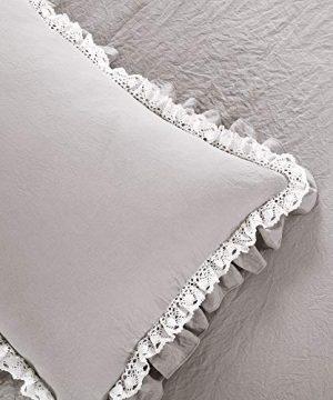 Lush Decor Light Gray Ella Shabby Chic Ruffle Lace 3 Piece Comforter Set FullQueen 0 3 300x360
