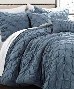 Lush Decor Stormy Blue Ravello Shabby Chic Style Pintuck 5 Piece Comforter Set With Pillow Shams Full Queen 0 1 300x360