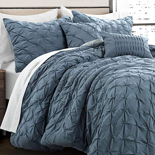 Lush Decor Stormy Blue Ravello Shabby Chic Style Pintuck 5 Piece Comforter Set With Pillow Shams Full Queen 0 1