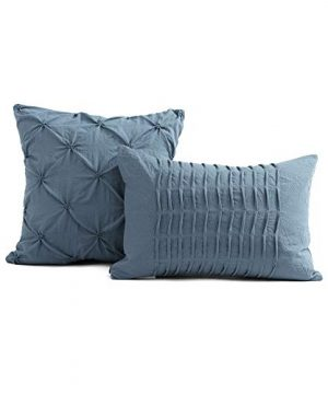 Lush Decor Stormy Blue Ravello Shabby Chic Style Pintuck 5 Piece Comforter Set With Pillow Shams Full Queen 0 2 300x360