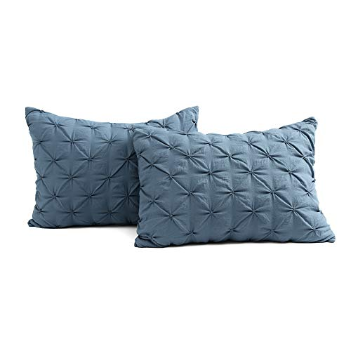 Lush Decor Stormy Blue Ravello Shabby Chic Style Pintuck 5 Piece Comforter Set With Pillow Shams Full Queen 0 3