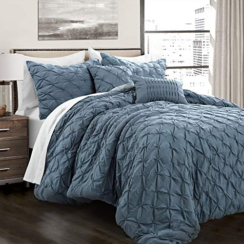 Lush Decor Stormy Blue Ravello Shabby Chic Style Pintuck 5 Piece Comforter Set With Pillow Shams Full Queen 0