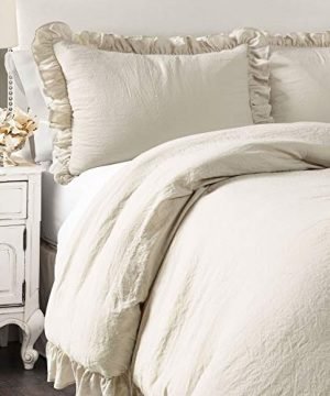 Lush Decor Wheat Reyna Comforter Ruffled 3 Piece Set With Pillow Sham Full Queen Size Bedding 0 300x360